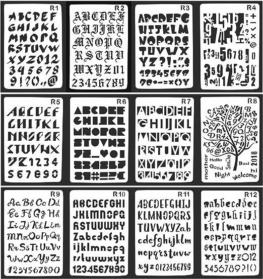 Pack de 12 plantillas de dibujo con forma de número y letra de ...