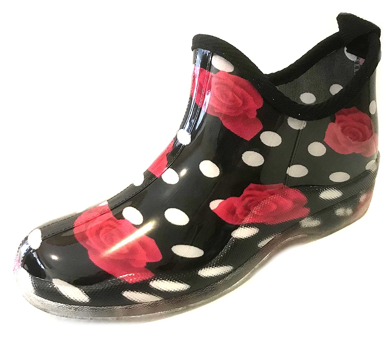 sh18es Shoes8teen Womens Short Rain Boots Prints & Solids B07BMC7LK8 9 B(M) US|1118 Red Rose