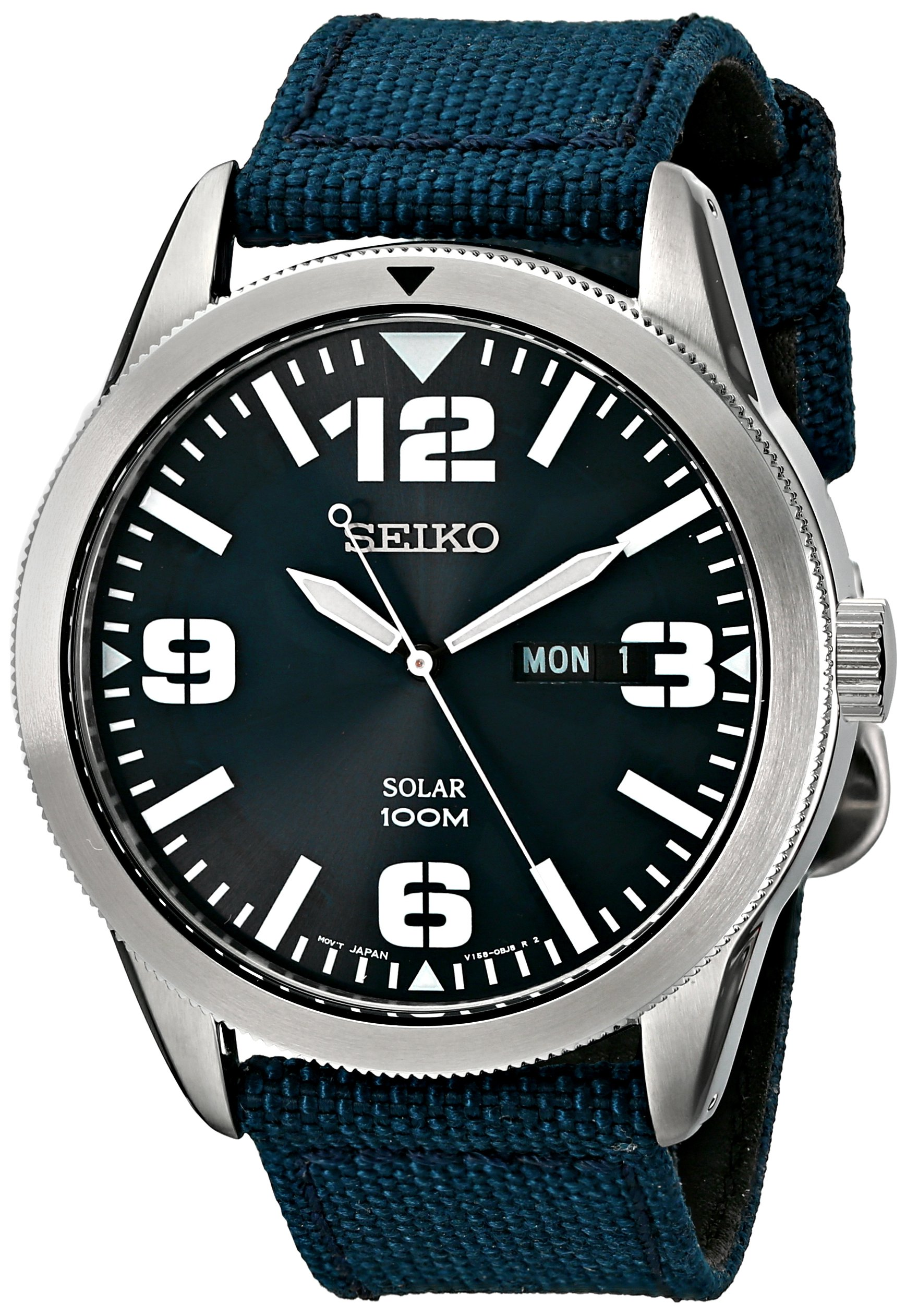 Seiko Men's SNE329 Sport Solar-Powered Stainless Steel Watch with Blue Nylon Band by SEIKO
