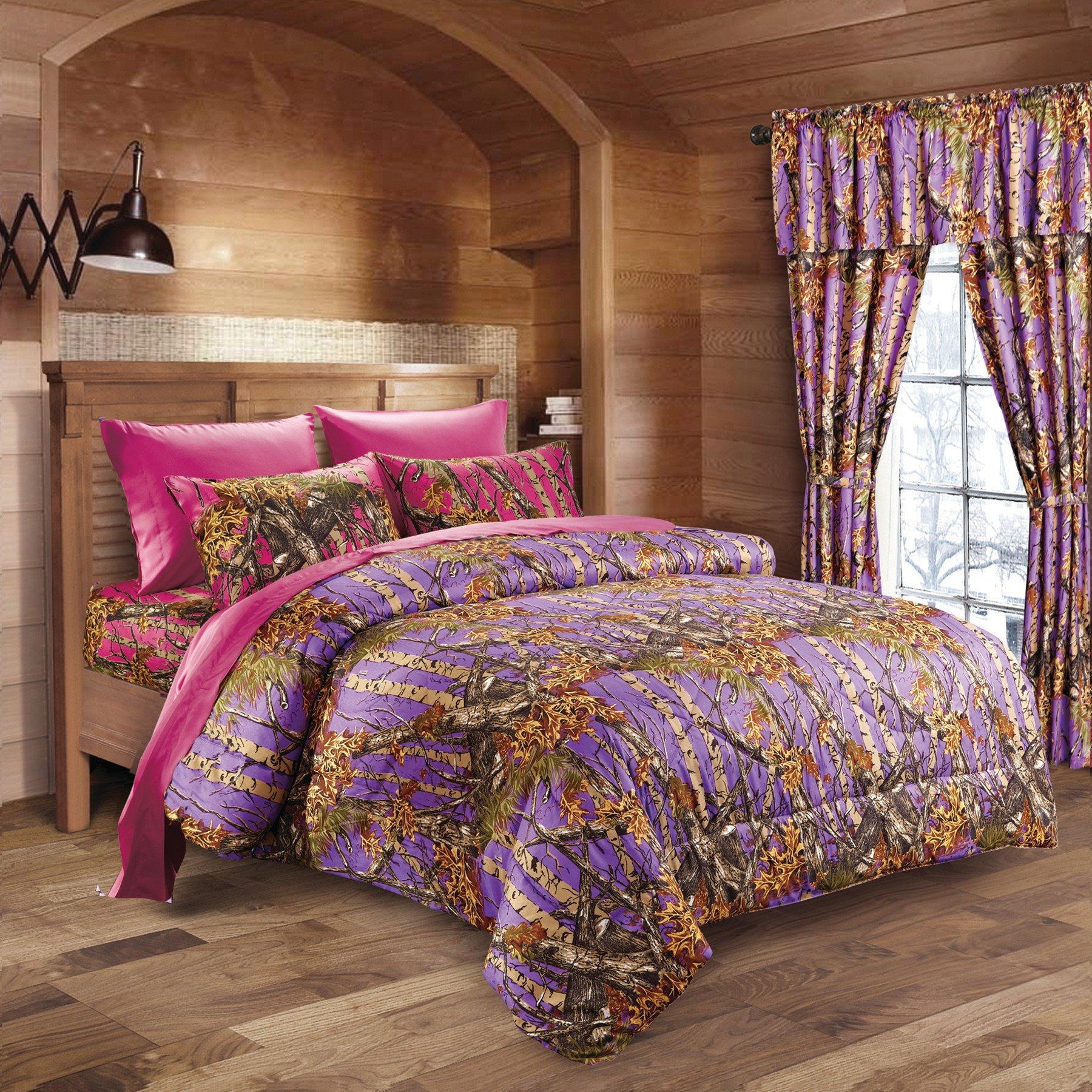 20 Lakes Hunter Camo Comforter, Sheet, Pillowcase Set Purple & Hot Pink (Twin, Purple & Hot Pink)