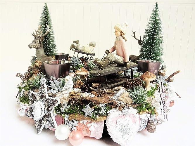 Grosser Adventskranz Schnee Juchhee Luxus Landhaus Weihnachtsdeko