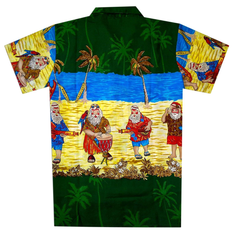 Virgin Crafts Mens Christmas Hawaiian Shirt Holiday Santa Claus Party Casual Beach Shirt