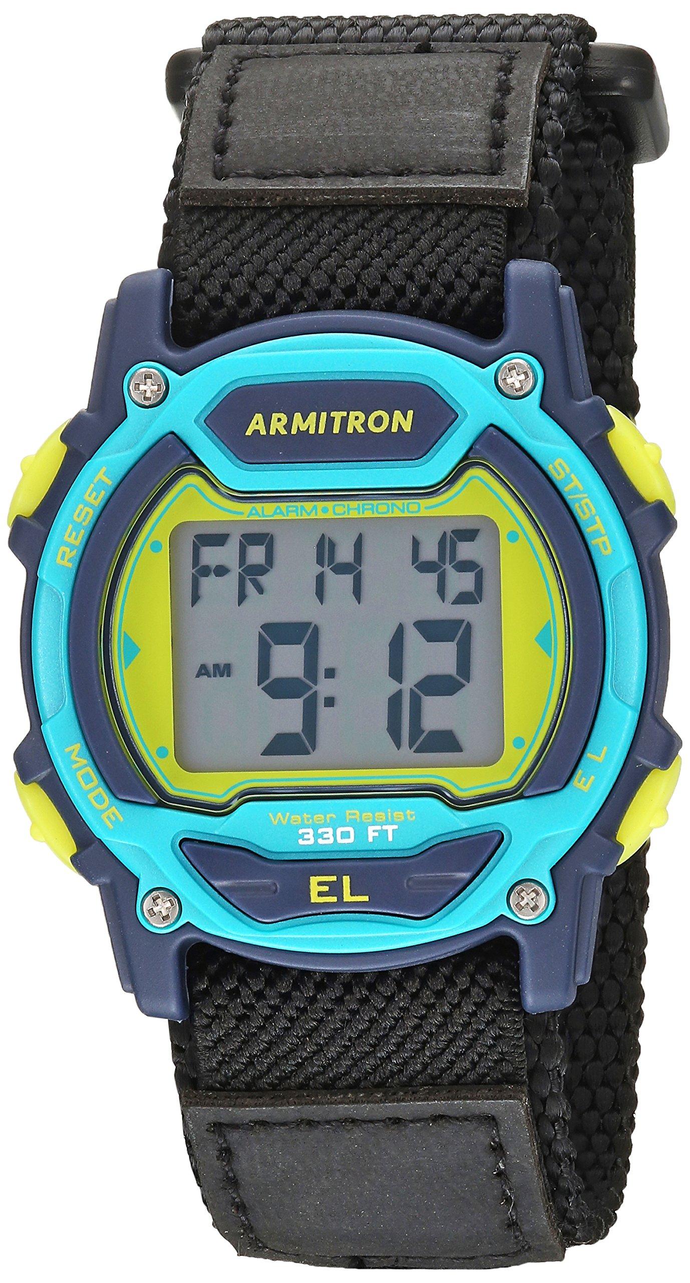 Armitron Sport Unisex 45/7004NVY Digital Chronograph Black Nylon Strap Watch