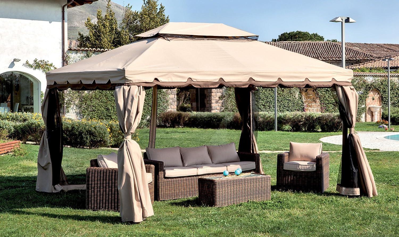 LuxuryGarden - Cenador de jardín de 3 x 4 metros, de aluminio con tela impermeable de poliéster y PVC - Color crudo, con 4 paredes laterales de tela con ...