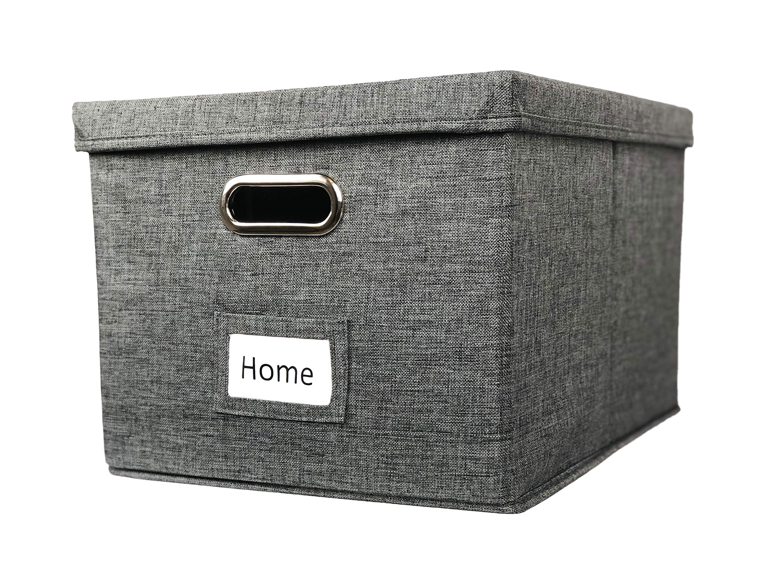 Viluh Collapsible File Box Storage Organizer | Decorative Linen Filing & Office Bin | Letter/Legal | Hanging Folders | Dog Toy Basket | Charcoal Gray |