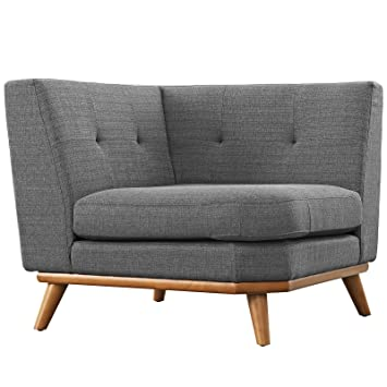 Attrayant Modway Engage Mid Century Modern Upholstered Fabric Corner Sofa In Gray