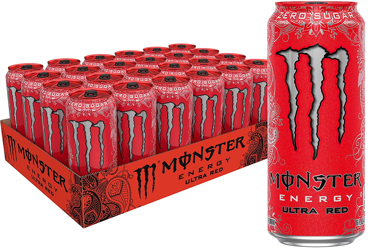 Monster Energy Ultra Red Sugar Free Energy Drink 16 Ounce Pack Of 24 Amazon Com Grocery Gourmet Food