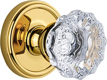 Double Dummy Grandeur Georgetown Rosette with Fontainebleau Crystal Knob Polished Brass