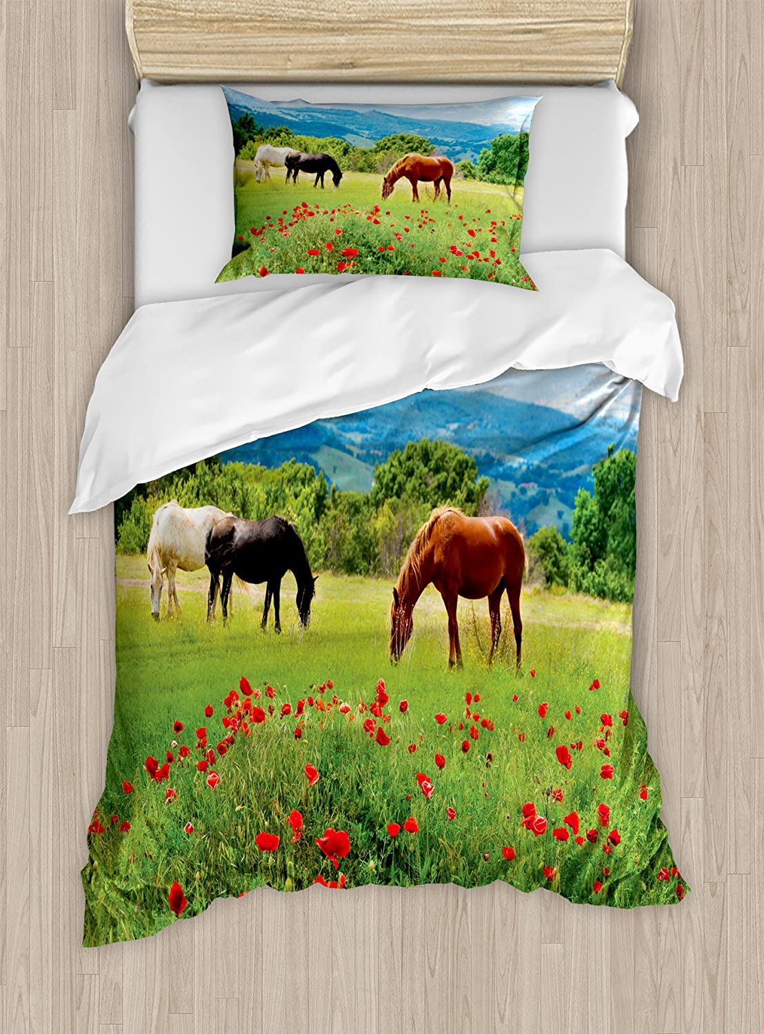 Ambesonne Horses Duvet Cover Set, Various Kinds of Horses Eating Grass in Field Mountain Landscape Rural Scene Print, Decorative 2 Piece Bedding Set with 1 Pillow Sham, Twin Size, Green Red