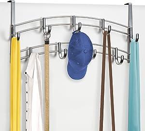 Lynk Over Door Accessory Holder - Scarf, Belt, Hat, Jewelry Hanger - 9 Hook Organizer Rack - Platinum