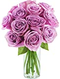 Bouquet of 12 Fresh Cut Purple Roses with Vase - by KaBloom
