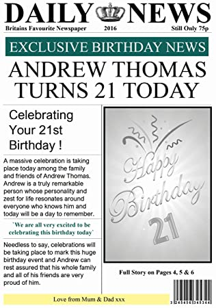 Personalised newspaper theme birthday card amazon office personalised newspaper theme birthday card bookmarktalkfo Choice Image
