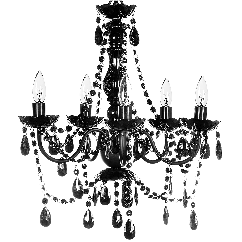 "The Original Gypsy Color 5 Light Medium Black Chandelier H21"" W19"", Black Metal Frame with Black Acrylic Crystals"
