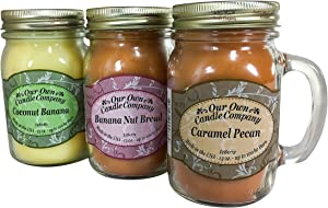 Our Own Candle Company Our Own Caramel Pecan, Coconut Banana, Nut Variety Scented Mason Jar Candles, 13 oz (3 Pack)