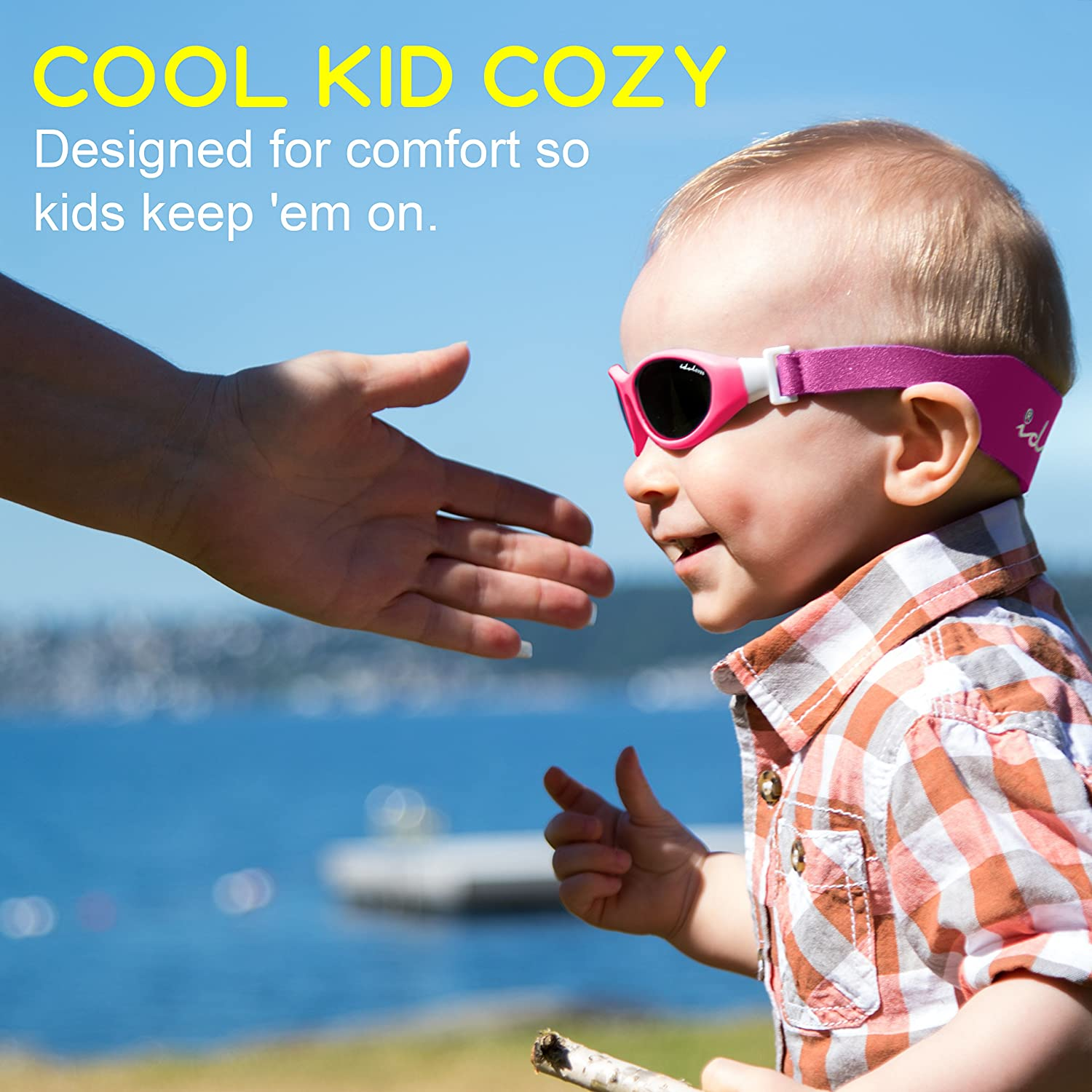 """266f0d3731 Idol Eyes Kids Sunglasses for Kids – """"Baby Wrapz"""" Baby Sunglasses with Strap  for Ages 0-2 ..."""