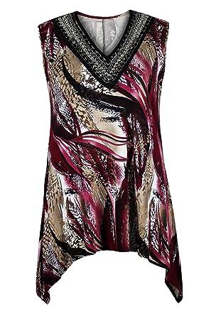406197f2428 Curvylicious Women s Plus Size Embellished Sleeveless Snakeskin Print Tunic  24 26