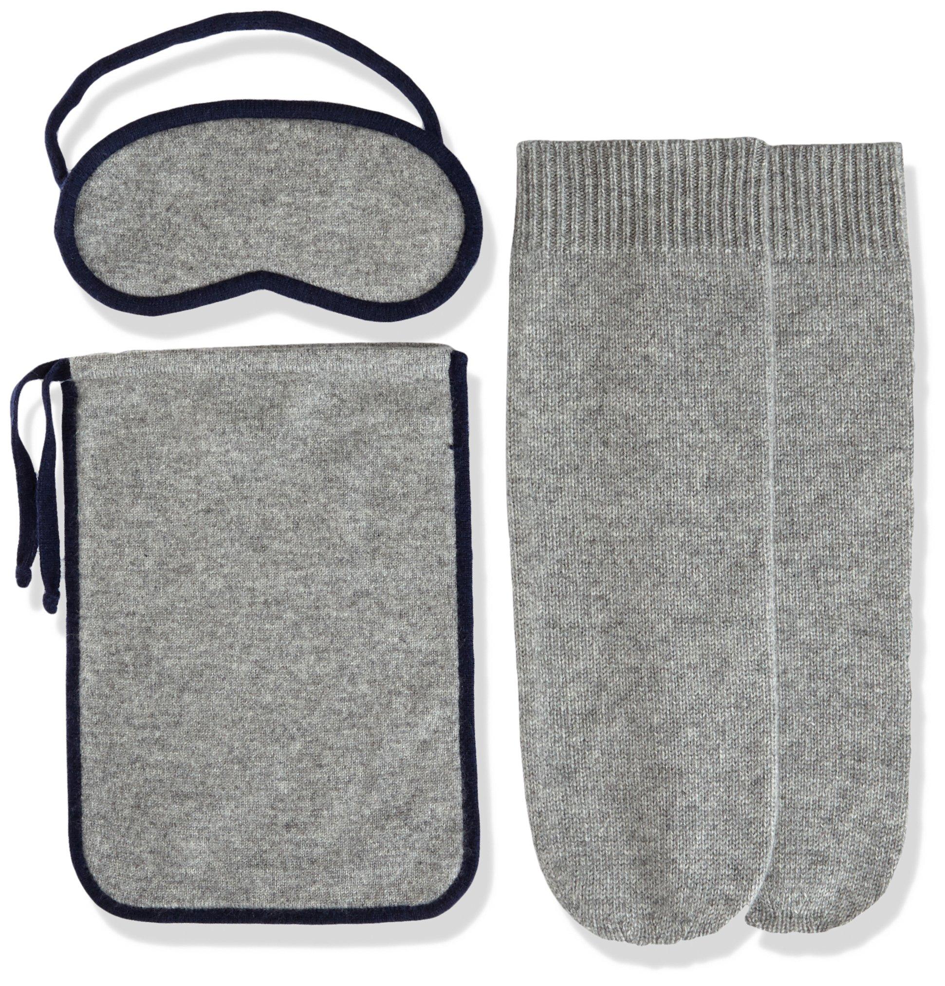 Sofia Cashmere Women's Cashmere Travel Set-Eyemask and Socks, Cloudburst ZY71137 + Navy ZY53372, ONE