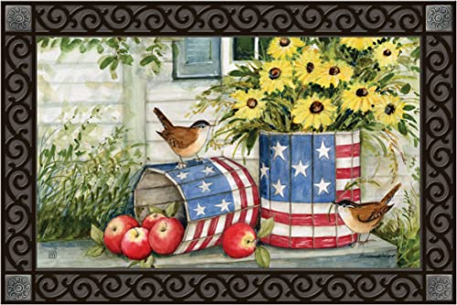 Studio M MatMates Patriotic Planters Decorative Floor Mat Indoor or Outdoor Doormat with Eco-Friendly Recycled Rubber Backing, 18 x 30 Inches