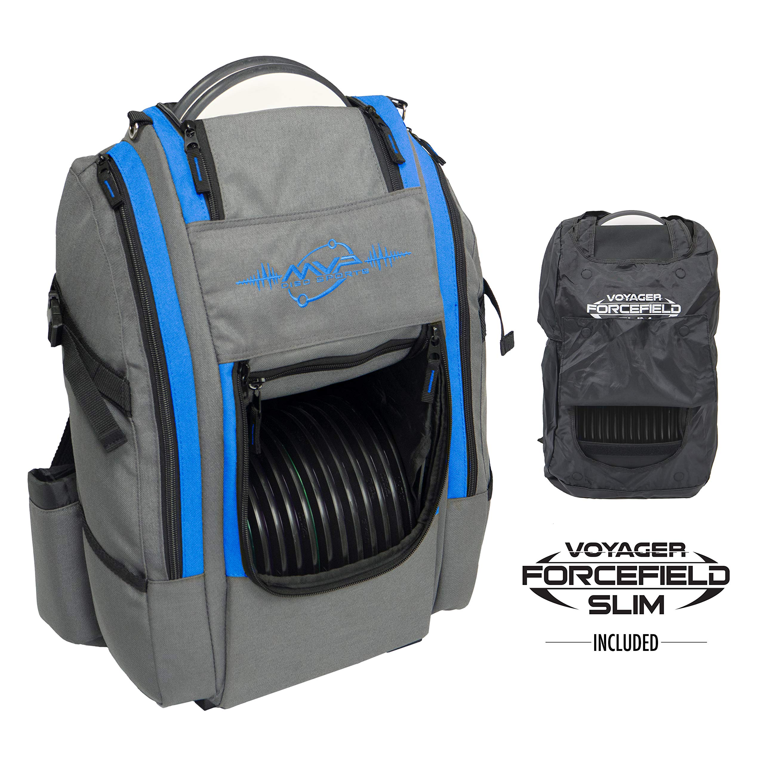 MVP Disc Sports Voyager Slim Bag (Gray/Royal) + Forcefield by MVP Disc Sports