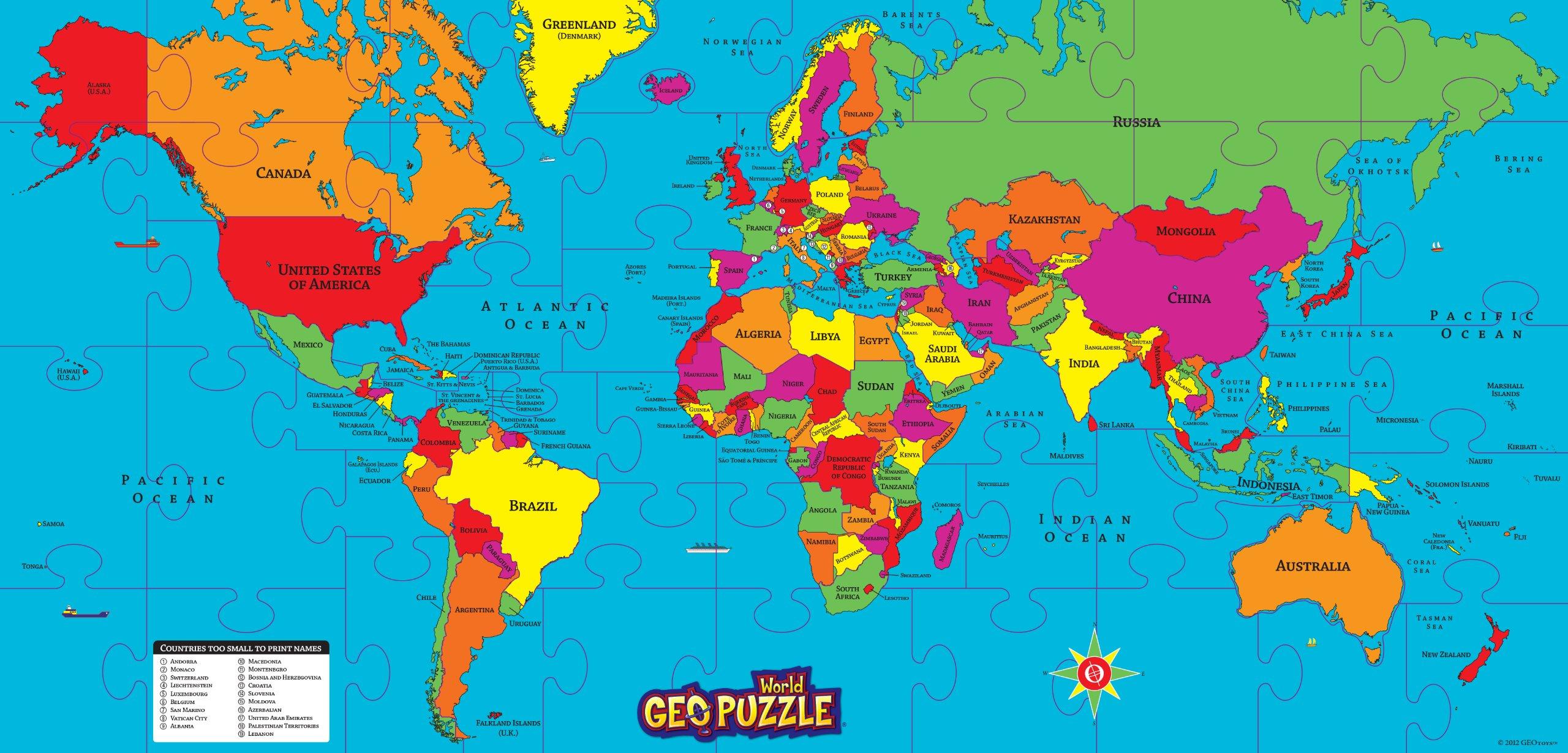 GeoPuzzle World - Educational Geography Jigsaw Puzzle (68 pcs)