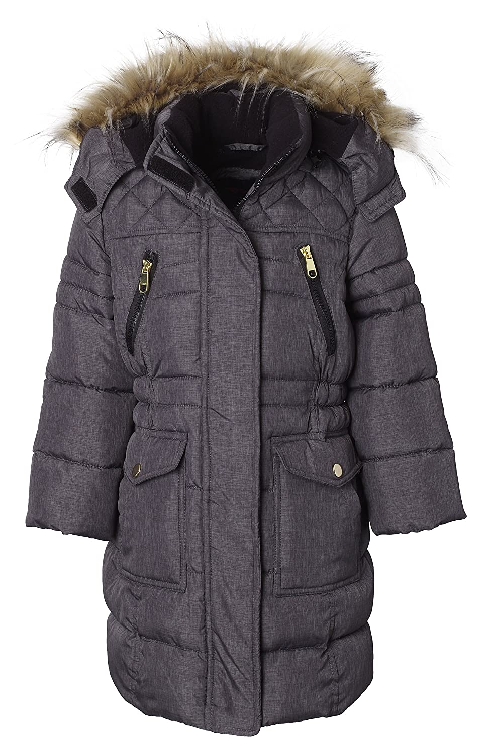Sportoli Girls' Heavy Quilt Long Fleece Lined Padded Puffer Coat with Fleece Lined Detachable Hood