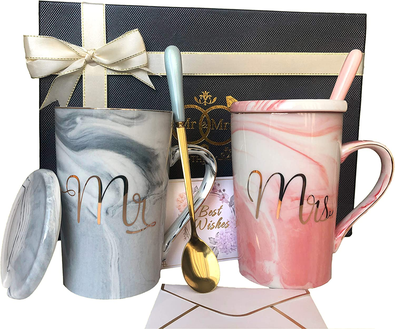 Amazon Com Mr And Mrs Mugs Set Wedding Gifts For Couple Engagement Bridal Shower Gift Unique Anniversary Married Couple Gift Great Valentine Christmas Gift Ceramic Marble Coffee Cups 14oz