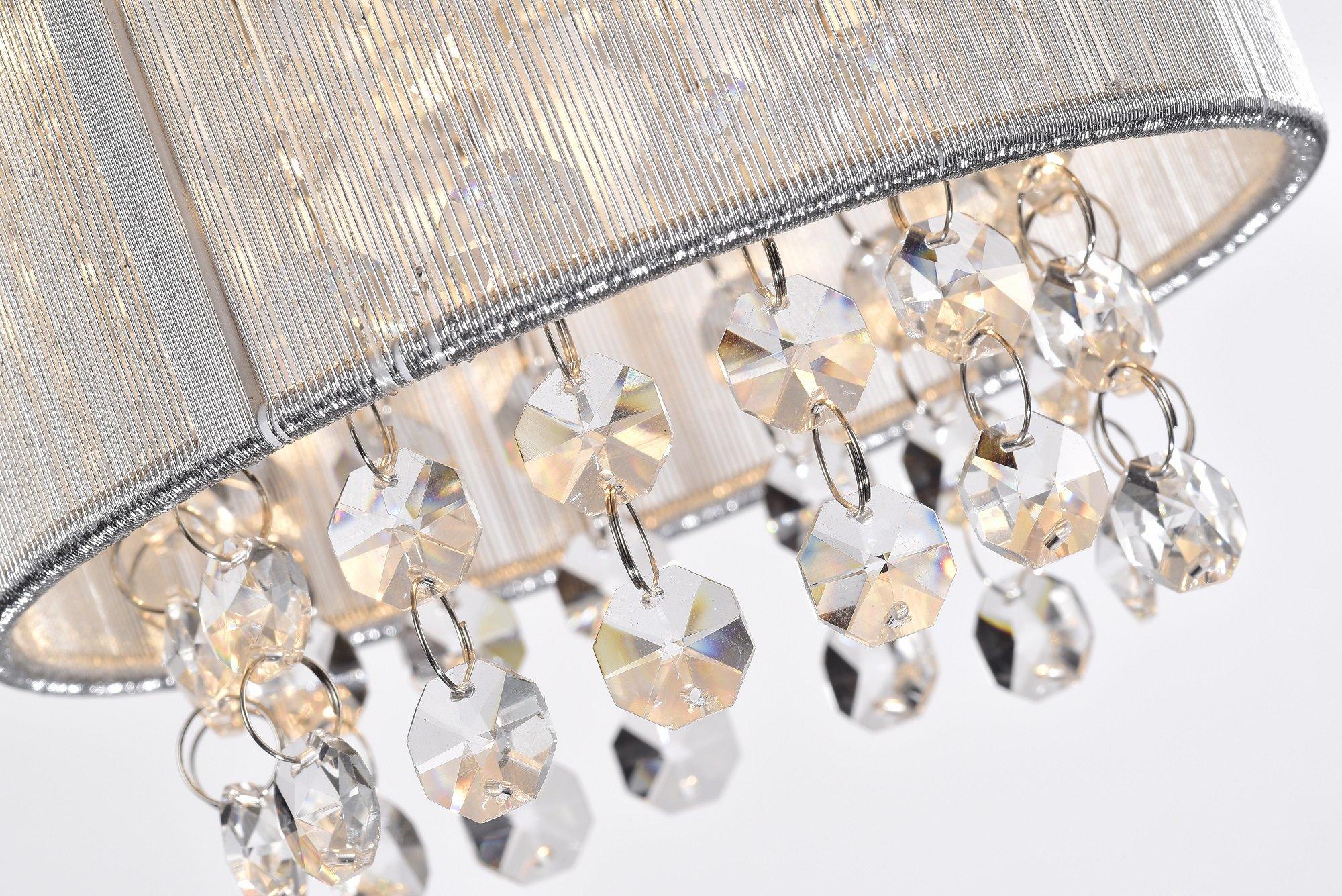 LaLuLa Pendant Lighting Mini Pendant Light Silver Drum Crystal Chandelier 1 Light by LaLuLa (Image #8)
