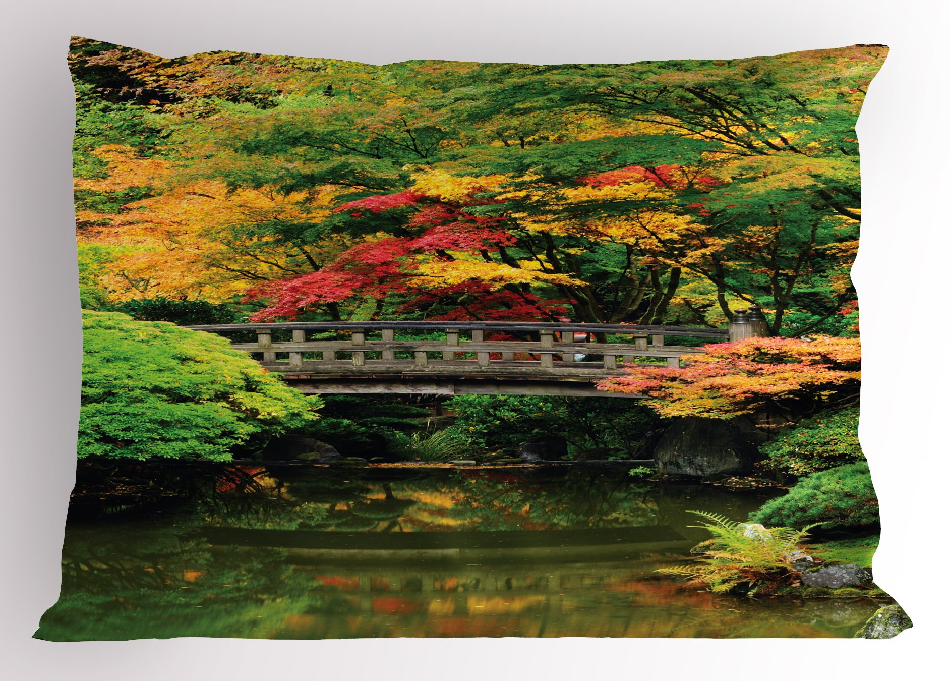 Lunarable Japanese Pillow Sham, Authentic Japanese Garden with Wood Old Bridge on River Creek Vibrant Eastern, Decorative Standard Size Printed Pillowcase, 26 X 20 inches, Green Coral by Lunarable (Image #1)