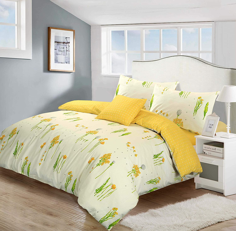 set di biancheria da letto Summer Breeze 168x138cm 100/% cotone motivo floreale Nimsay Home verde. colore: panna//giallo 66x54 Curtains panna reversibile giallo 100/% cotone