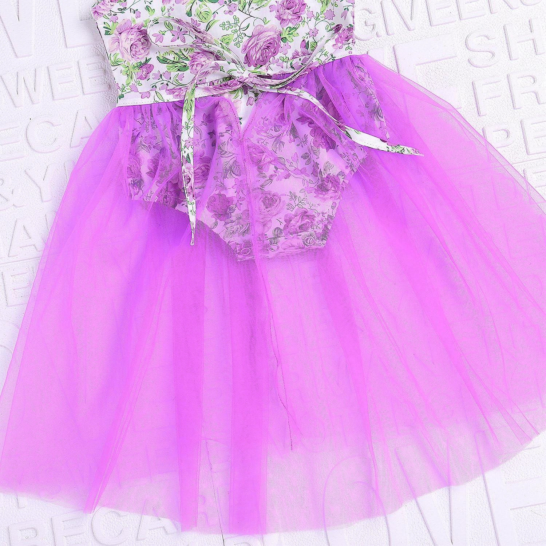 AILOM Newborn Baby Girls Sleeveless Floral Romper Dress Jumpsuit Lace Tutu Mesh Princess Summer Playsuit Purple, 6-12Month