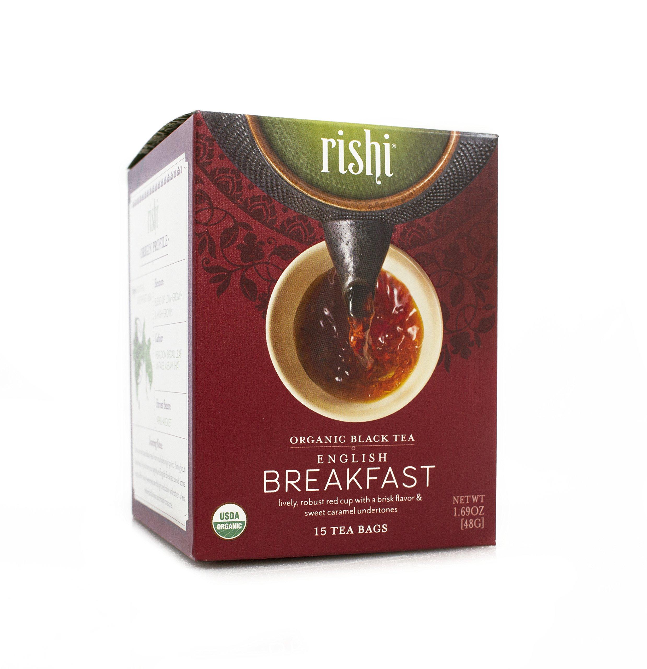Rishi Tea Organic English Breakfast Tea Bags, 15 Count (Pack of 6) by Rishi Tea