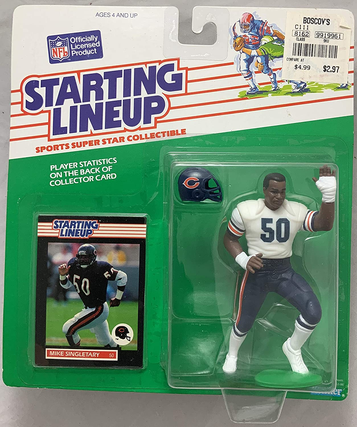 1989 KENNER STARTING LINEUP NFL MIKE SINGLETARY CHICAGO BEARS MOC