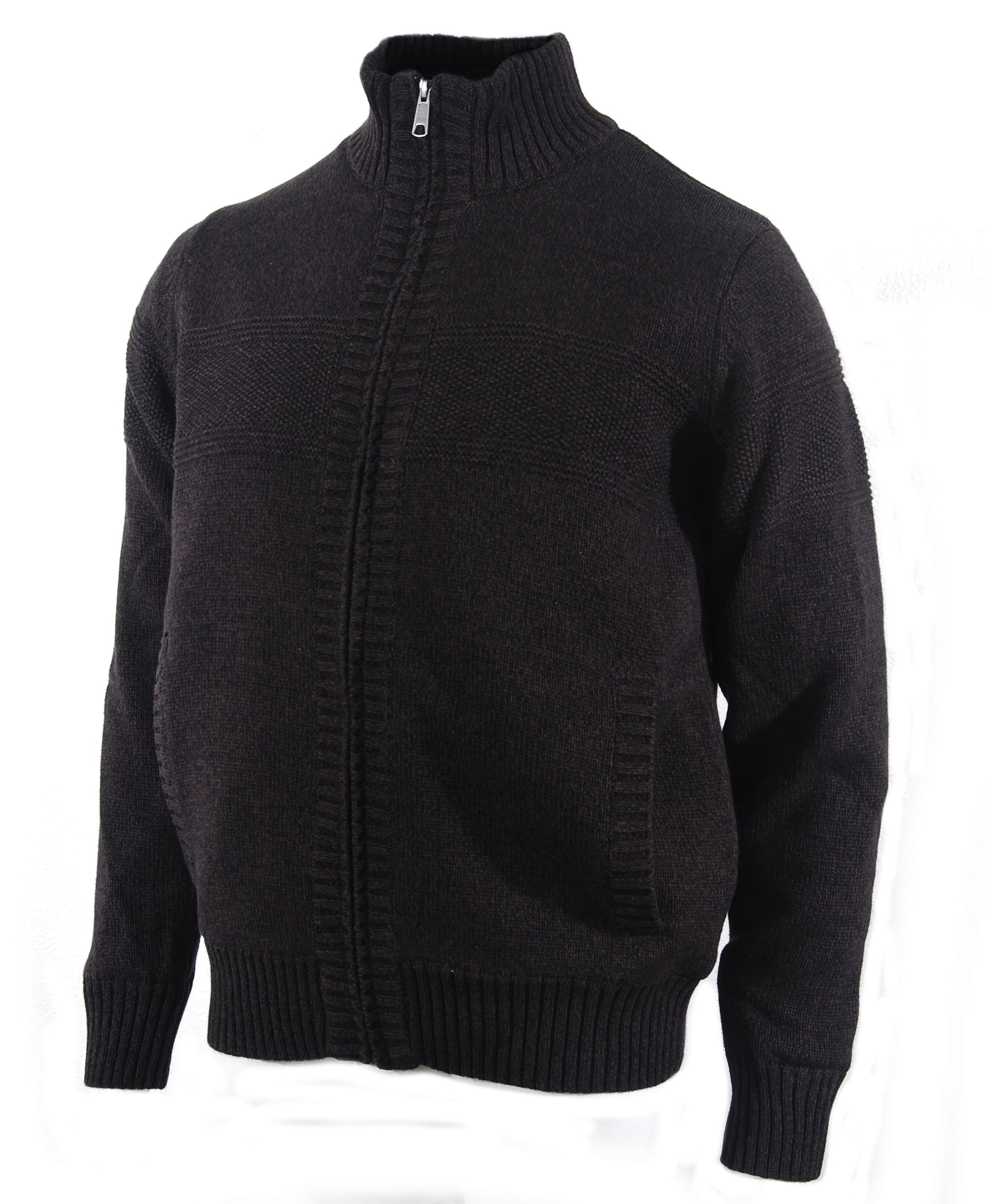 Boston Traders Men's Cable Knit Sweater with Sherpa Lining, Chocolate, Medium