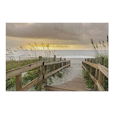 South Carolina - Beach Grass & Boardwalk Leading to The Beach at Sunrise 9008187 (Premium 1000 Piece Jigsaw Puzzle for Adults, 20x30, Made in USA!): Toys & Games