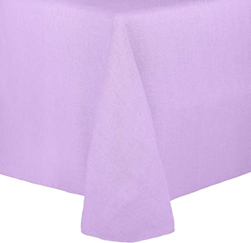 Ultimate Textile Faux Burlap – Havana 60 x 84-Inch Oval Tablecloth – Basket Weave, Lilac Light Purple