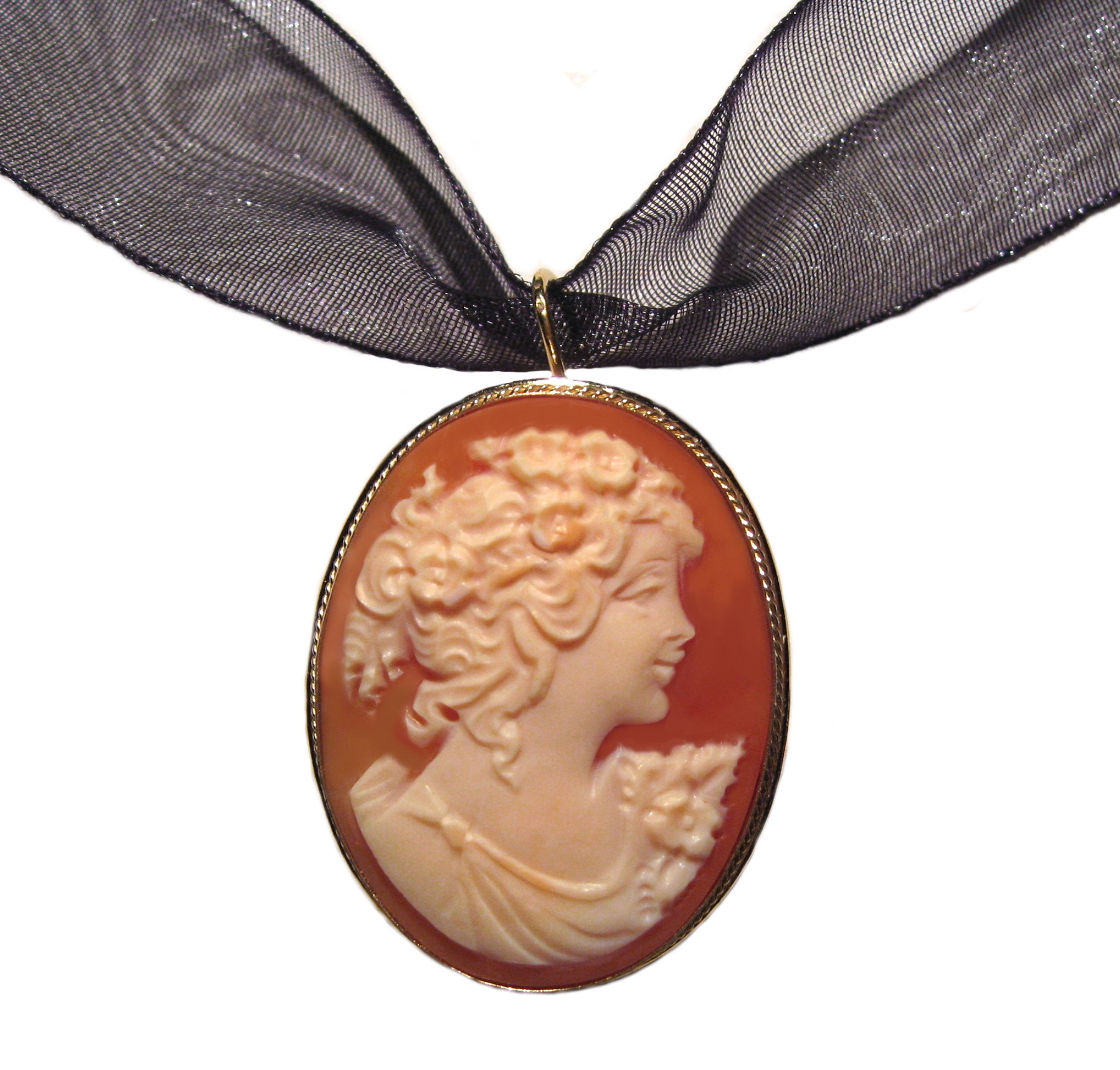 Cameo Brooch Pendant Enhancer, Master Carved, Shell Sterling Silver 18k Gold Overlay Italian Primavera by cameosRus (Image #6)