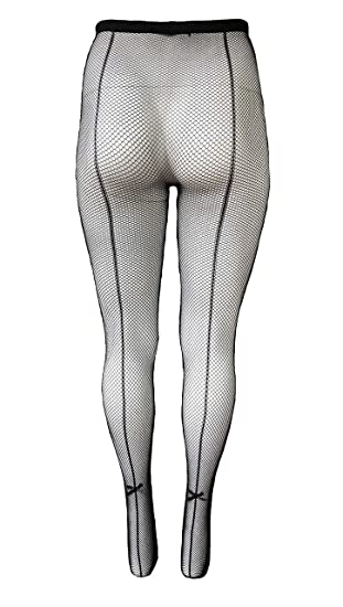 608b4ab18b55d Yelete Killer Legs Womens Queen Plus Size Fishnet Pantyhose 168YD022Q,  Black, Back Seam with Bow Tie at Amazon Women's Clothing store: