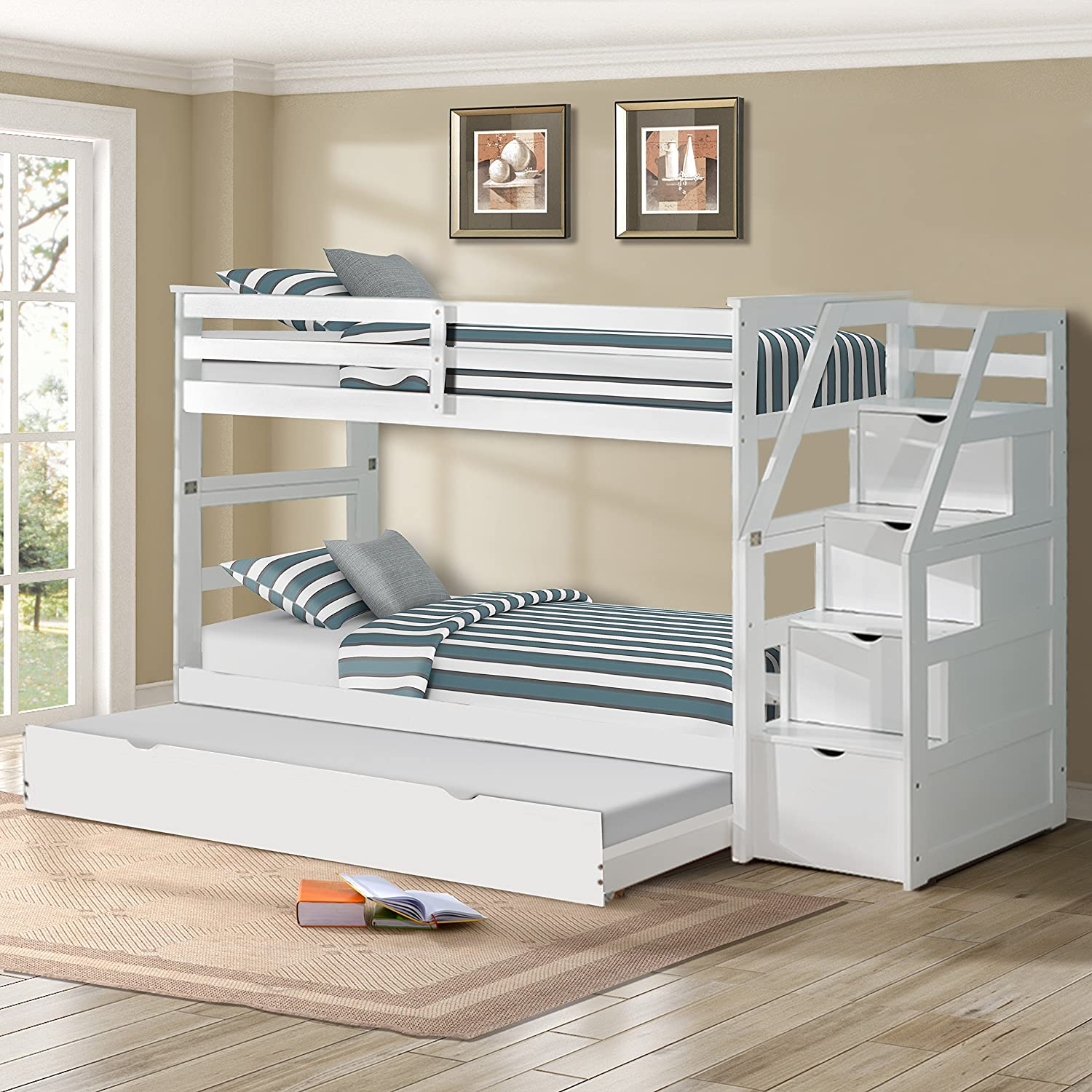 Harper&Bright Designs Twin-Over-Twin Trundle Bunk Bed with 4 Storage Drwers (White)