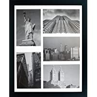 11x14 Collage Picture Frame - Mat Displays Five 4x6 Inch Photos - Black Gallery...