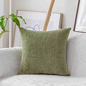 Home Brilliant Green Pillow Covers 18x18 for Garden Super Soft Chenille Cushion Case for Couch Car Chair, 45 x 45 cm, Fresh Grass Green
