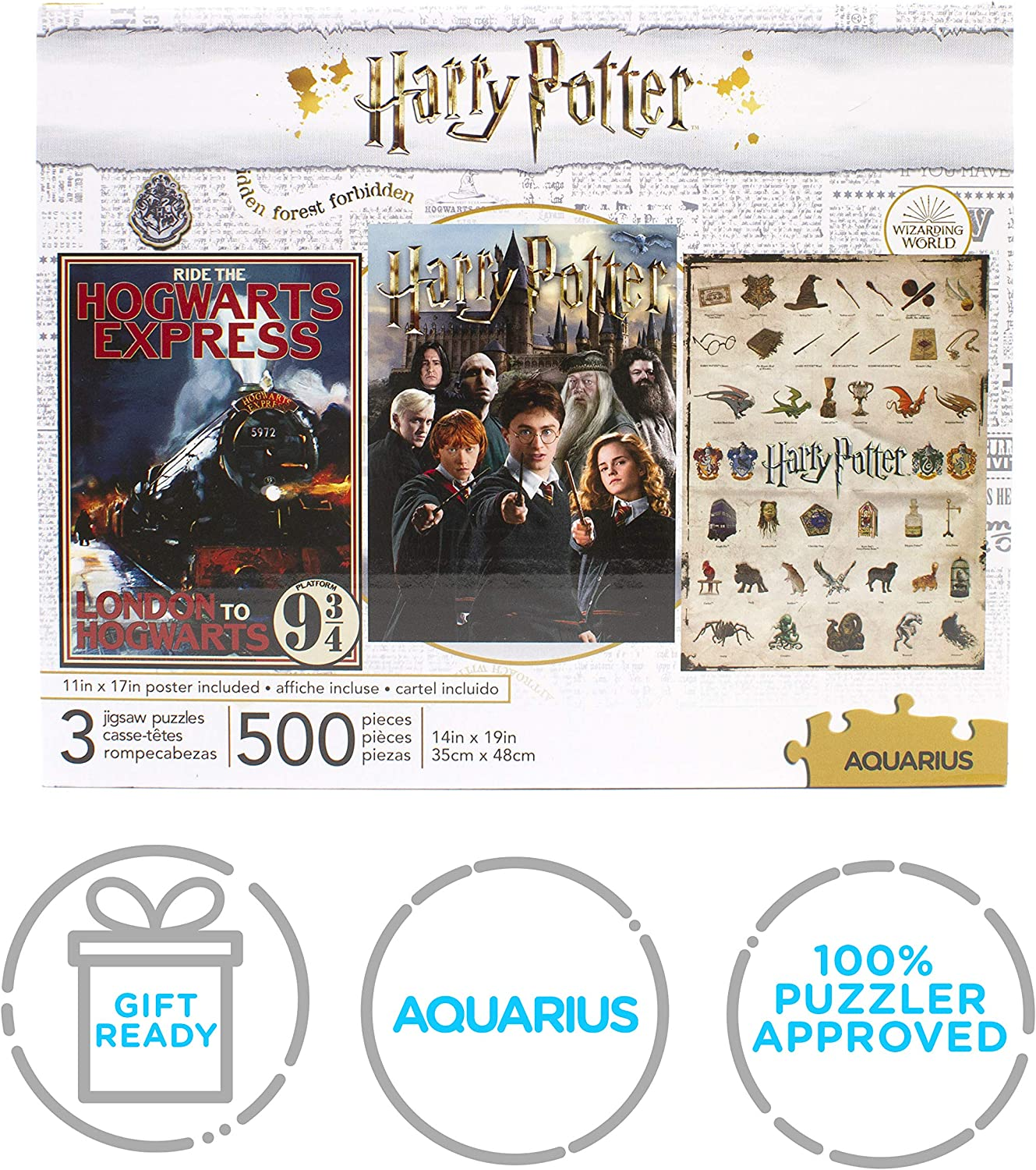 14x19 Inches Each - Glare Free Officially Licensed HP Merchandise /& Collectibles Precision Fit Three 500 Piece Jigsaw Puzzles Virtually No Puzzle Dust AQUARIUS Set of 3 Harry Potter Puzzles