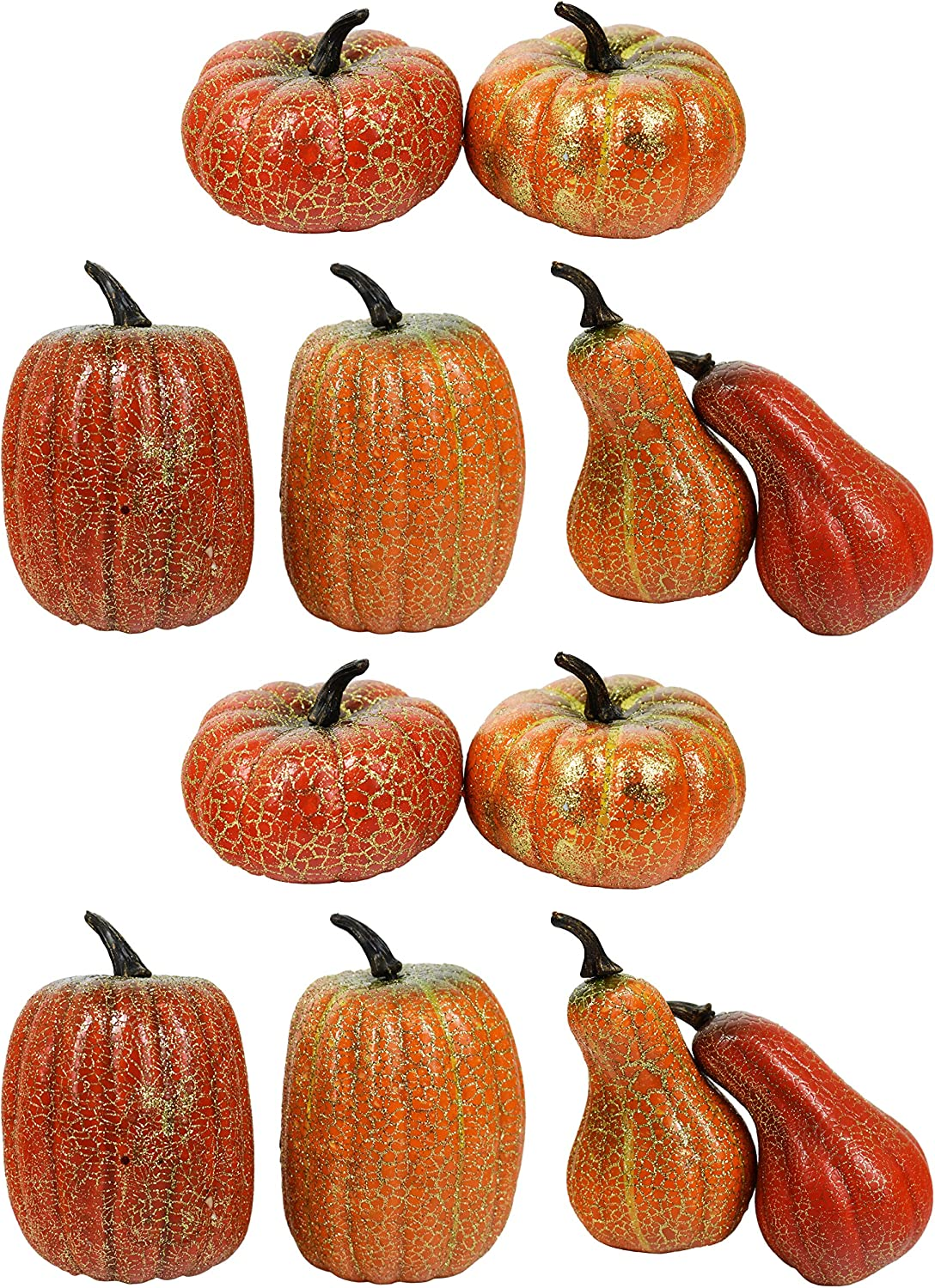 """Black Duck Brand Set of 12 Gold Crackle 4"""" Pumpkins & Gourds - Great for Table Decor and Festive Baskets"""