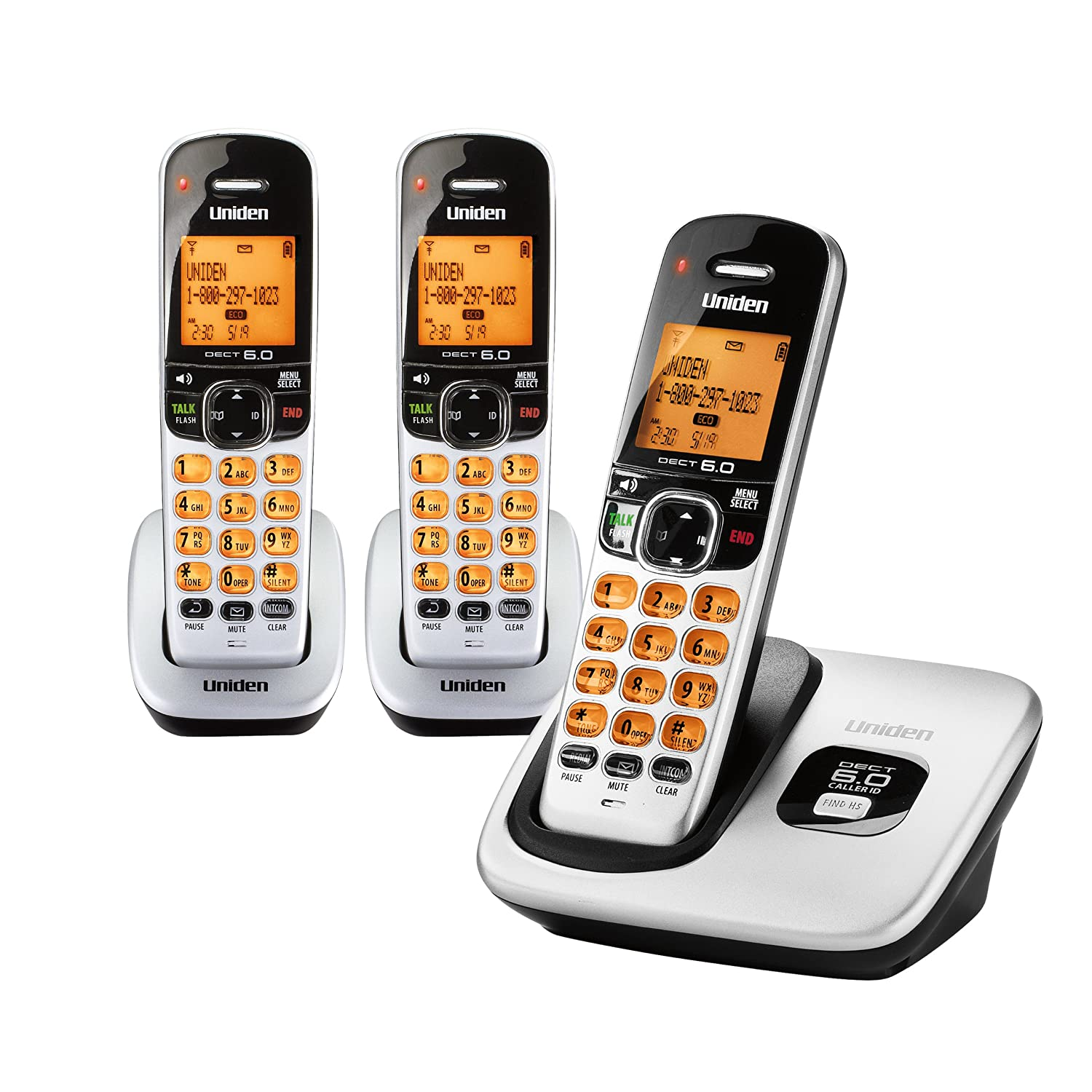 Amazon.com : D1760-3 DECT 6.0 Expandable Cordless Phone with Caller ID,  Silver, 3 Handsets : Cordless Telephones : Office Products