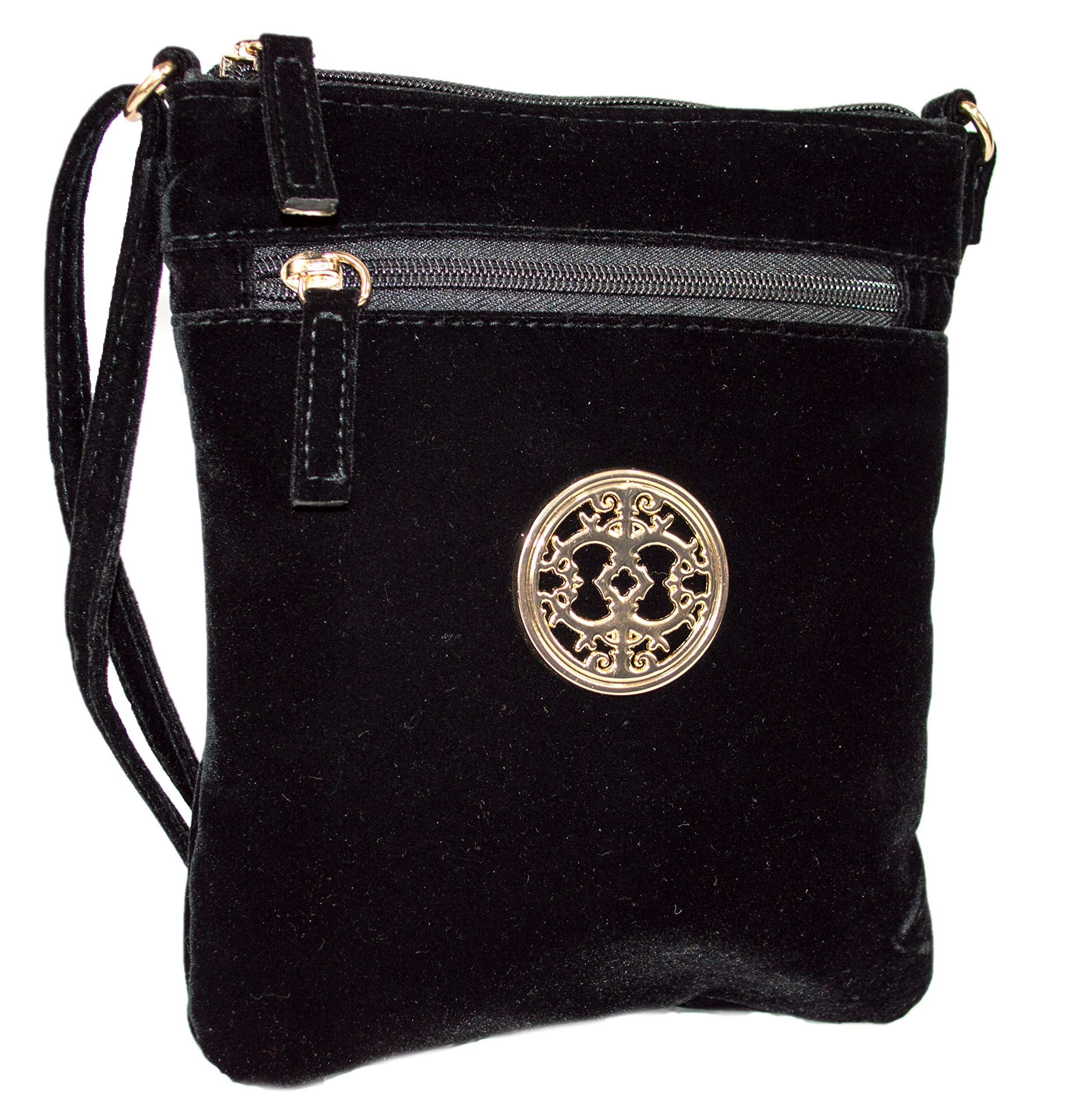 Rising Phoenix Industries Black Vintage Style Velvet Crossbody Party Bag, Small Purse with Shoulder Strap