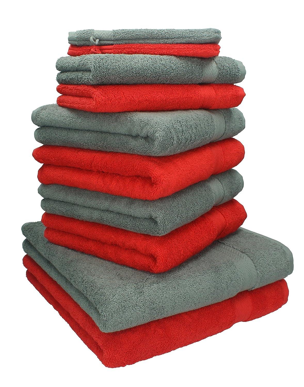 Betz 10 Pezzi. Set di asciugamani 2 asciugamani da doccia, 4 asciugamani, 2 asciugamani per ospiti, 2 guanti da bagno 100% Cotone Premium colore rosso e grigio antracite