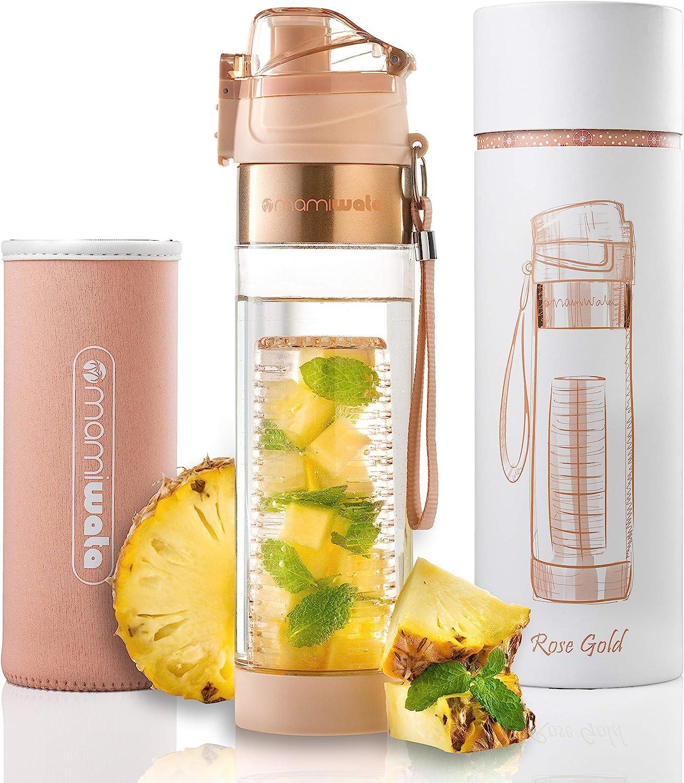 MAMI WATA Botella de agua con infusor de fruta – Hermosa caja de regalo – Diseño único y elegante – Recetas de agua con fruta infusión libro electrónico y funda aislante – 24 oz