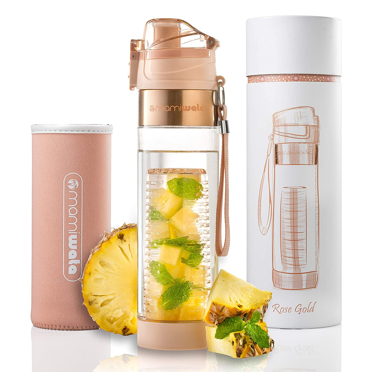 dc382ce1e7 MAMI WATA Fruit Infuser Water Bottle - Beautiful Gift Box - Unique Stylish  Design - Free Fruit Infused Water Recipes eBook and Insulating Sleeve - 24oz