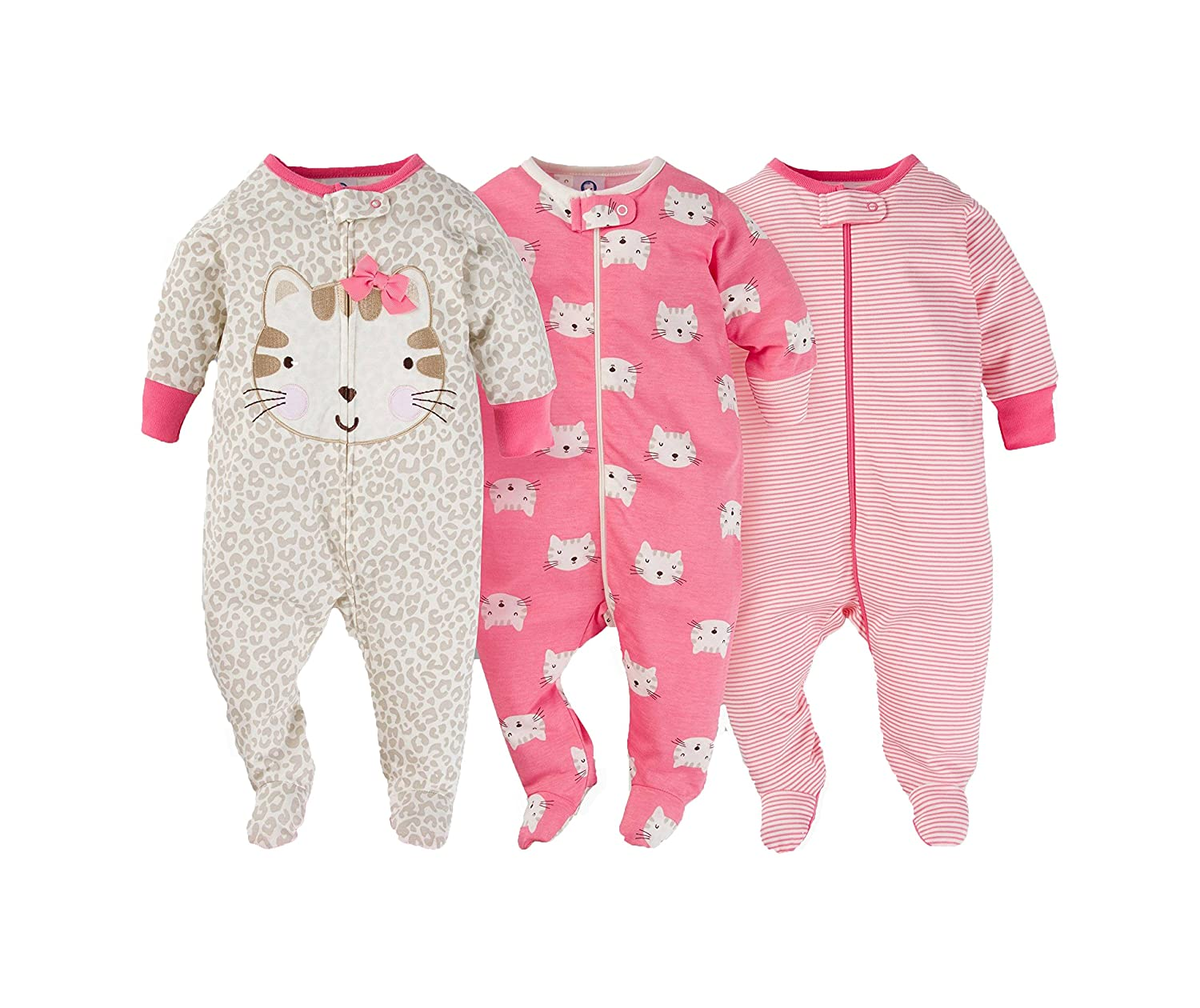 e22533fed Amazon.com  Gerber Onesies Baby Girl Sleep N Play Sleepers 3 Pack ...