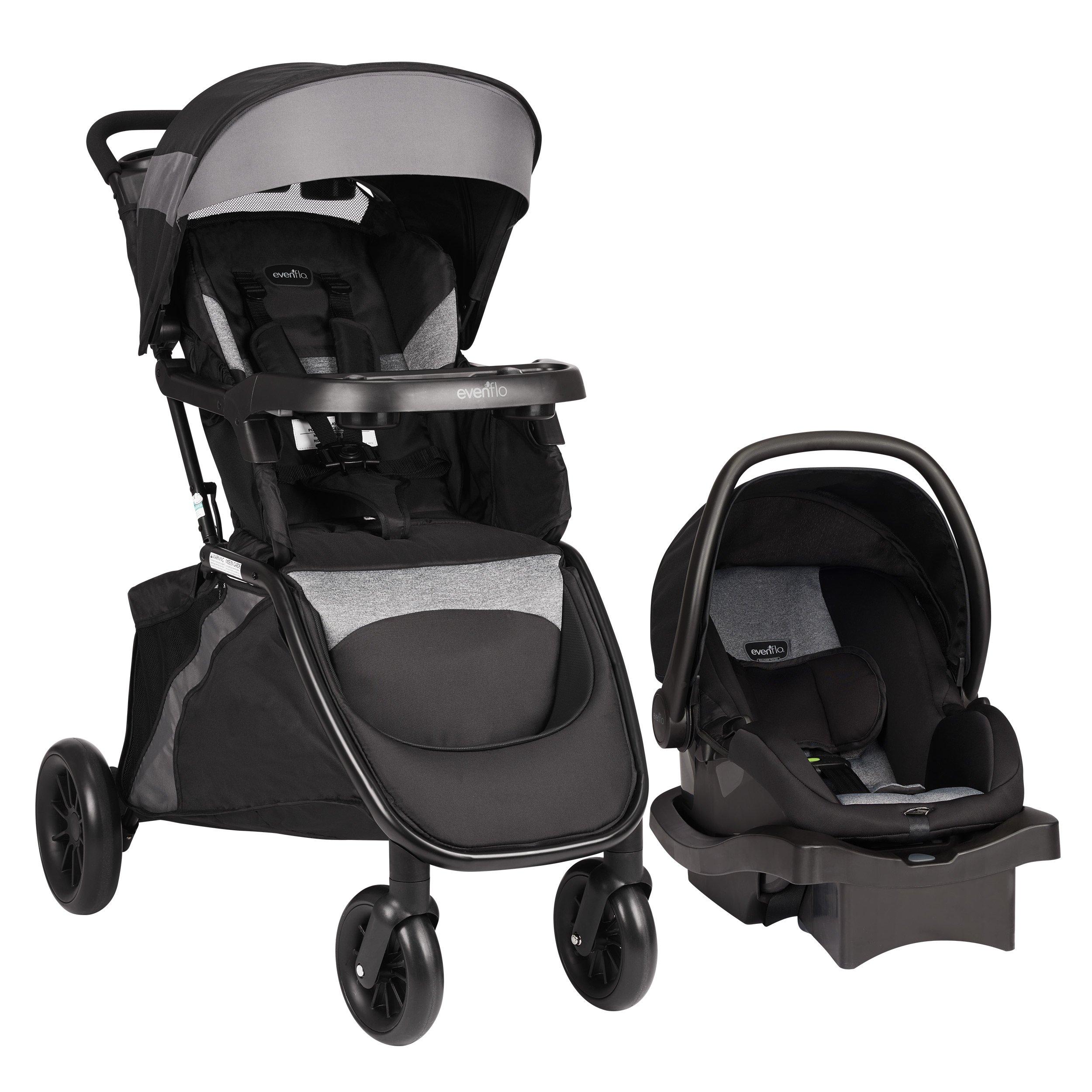 Evenflo Advanced SensorSafe Epic Travel System with LiteMax Infant Car Seat, Jet by Evenflo