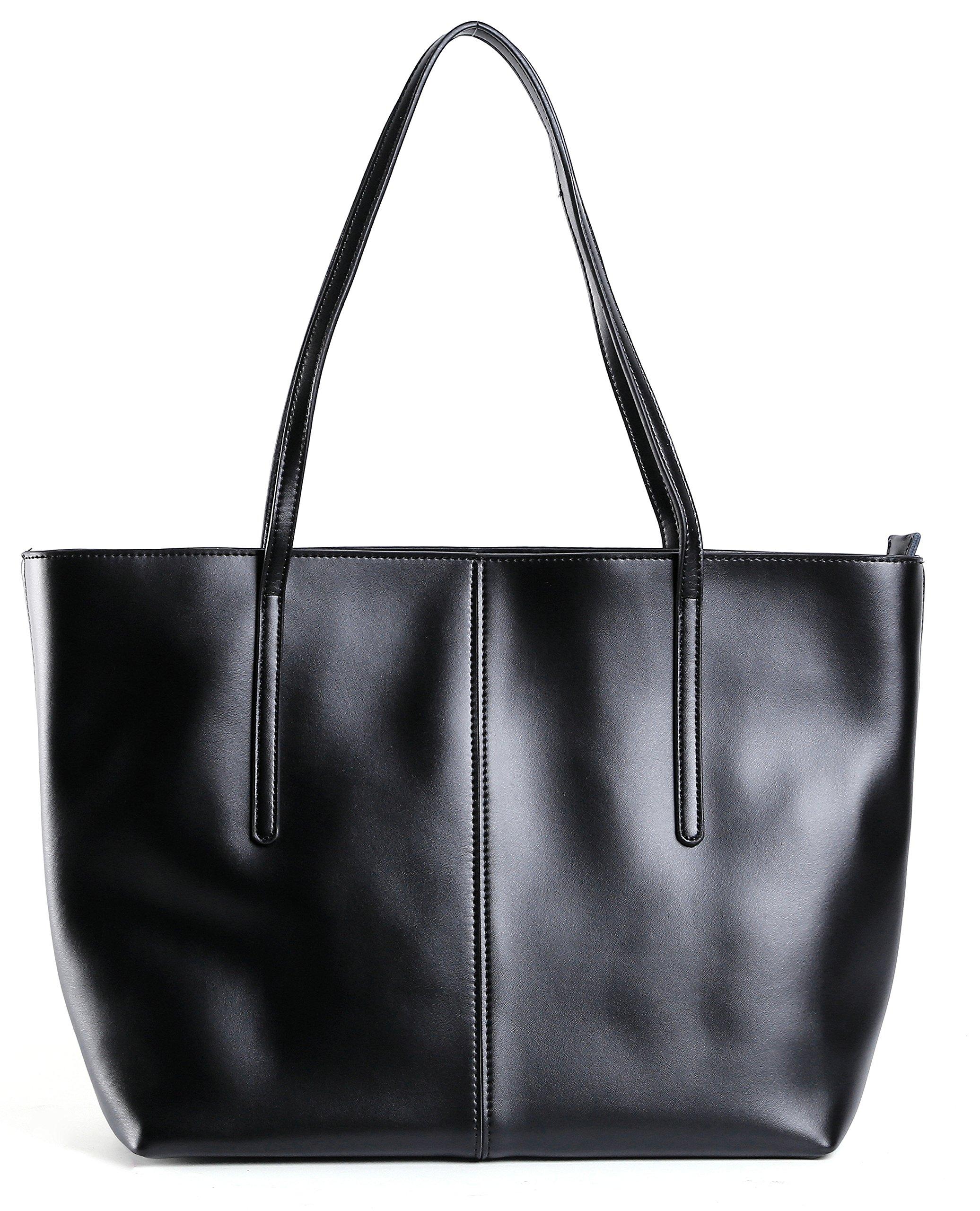 BeAllure Women's Genuine Leather Large Durable Tote Bag Handbag Casual Designer Shoulder Bag for Work,School,Shopping,Black
